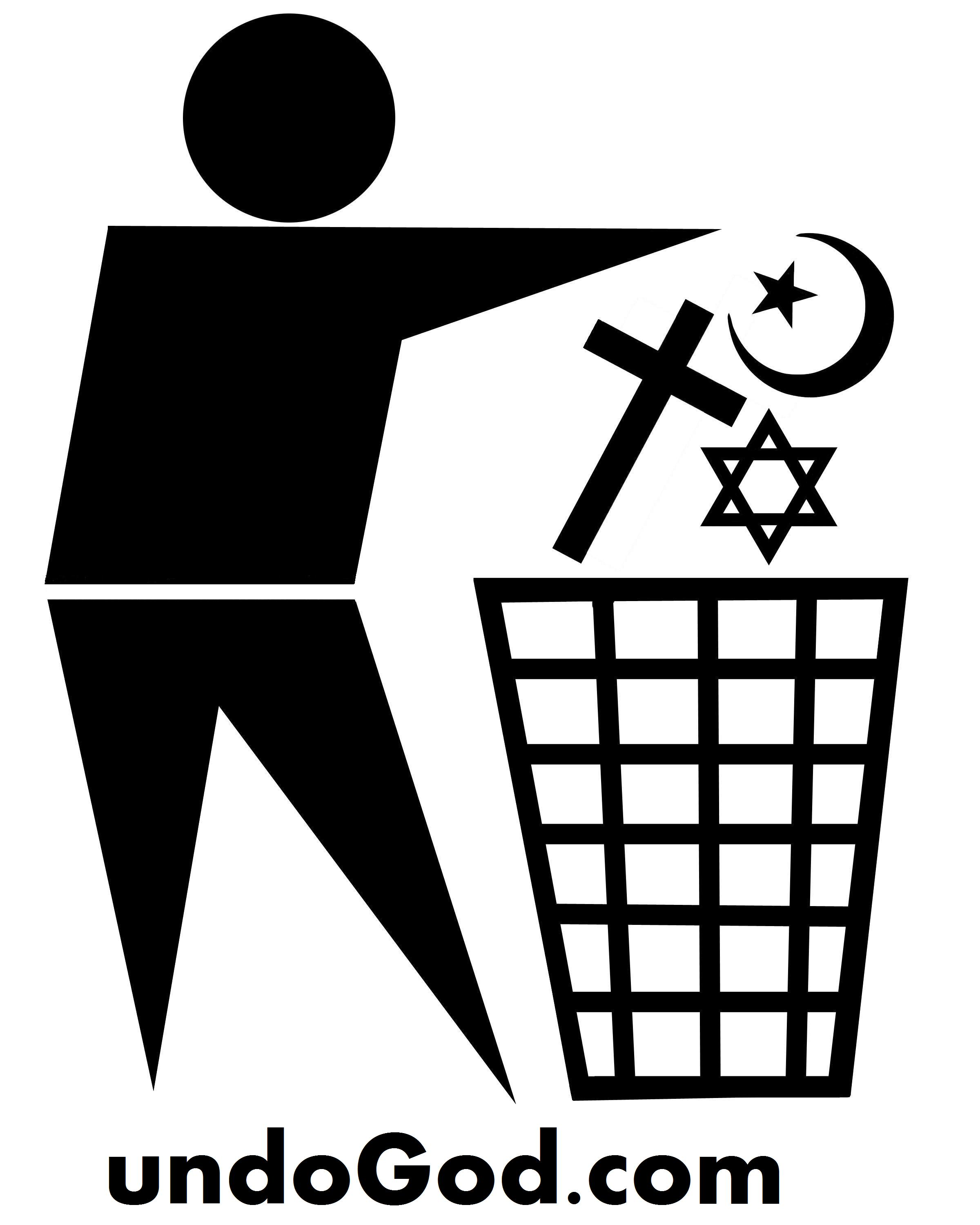 standard waste bin sign with religious symbols being discarded